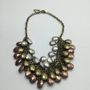 Hammered Mixed Metal Statement Necklace